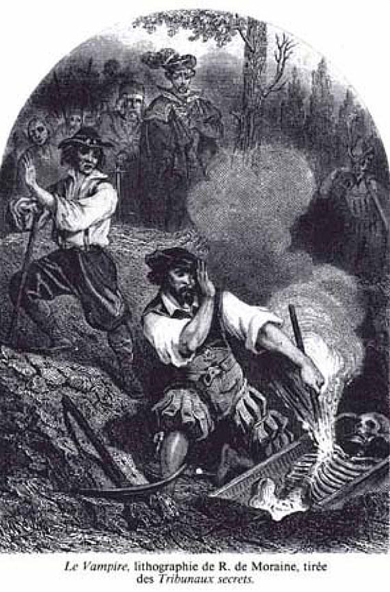 Picture Of The Vampire Lithograph By R De Moraine 1864