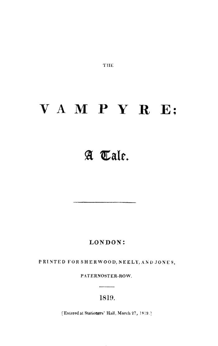 Picture Of Vampire Literature The Vampyre 1819